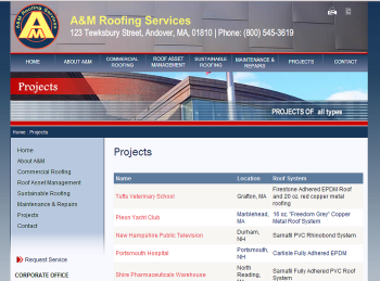 AM Roofing PHP programming for Projects web page