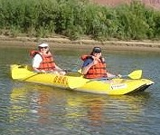 Karen Callahan and Linda Tatten Kayaking the Colorado River in Moab UT