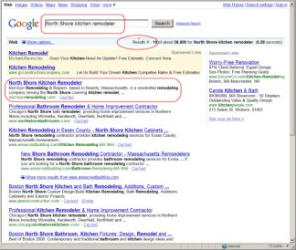 High-ranking Google search results for kitchen remodeler