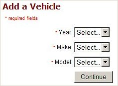 Vehicle Selection Form