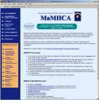 Website Redesign for MaMHCA  Before image