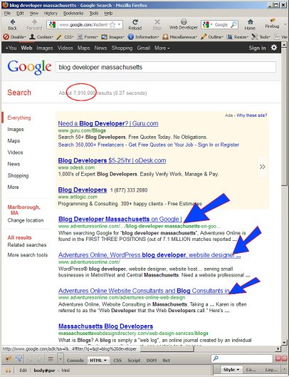 Google SERPs for Blog Developer Massachusetts on 2011-12-22