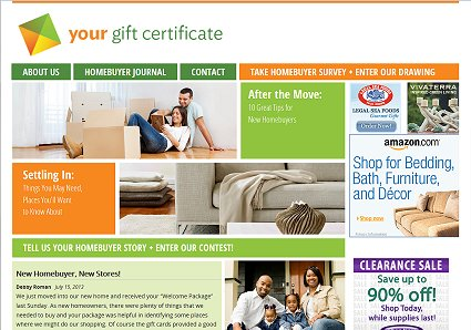 Home page of WordPress website for Your Gift Certificate